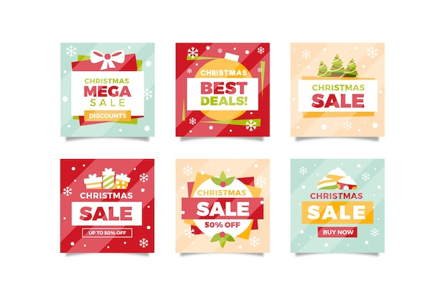 Collection of christmas sale instagram post Free Vector