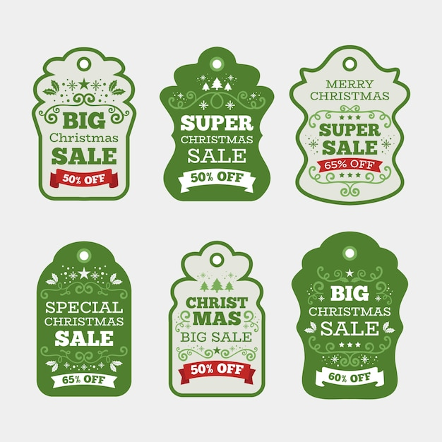 Collection of christmas sale tag in flat design Free Vector