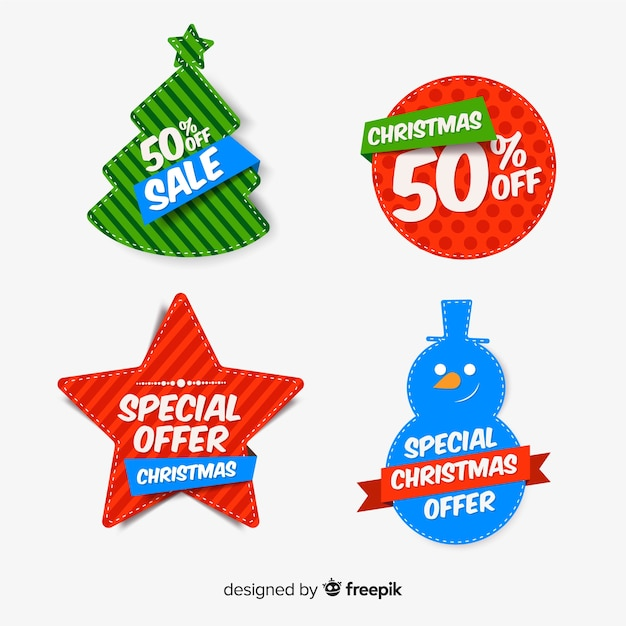 Collection of christmas sales illustrations Free Vector