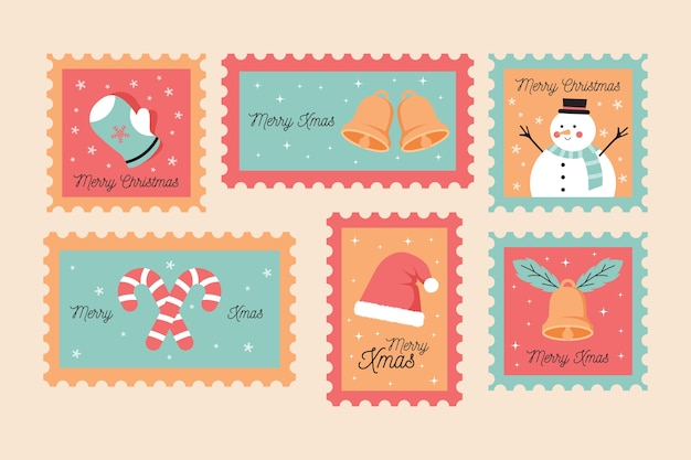 Collection of christmas stamp in flat design Free Vector