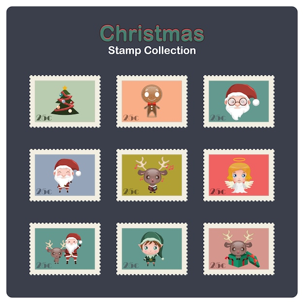 Collection of christmas stamps Premium Vector