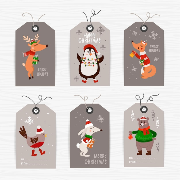 Collection of christmas tags with animals and holiday wishes. printable cards templates. Premium Vector