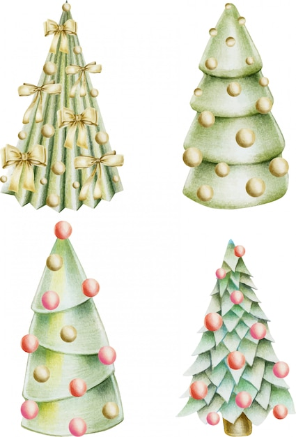 Collection of christmas trees with decorations Premium Vector