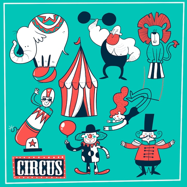 Collection of circus tent and funny show performers - clown, strongman, acrobats, trapeze artist. vector illustration in cartoon style. Premium Vector