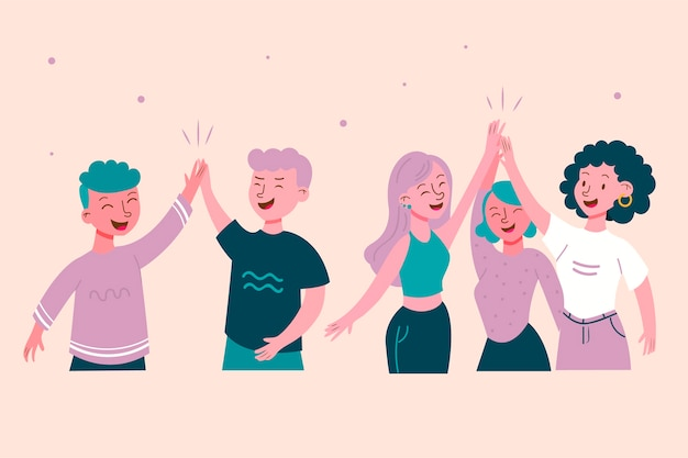 Collection of citizens giving high five Free Vector