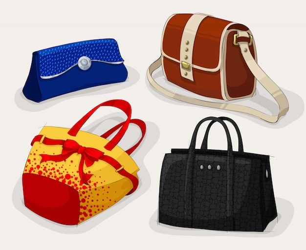 Collection of classic woman's bags Premium Vector