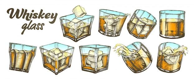 Коллекция классического ирландского виски glass Premium векторы
