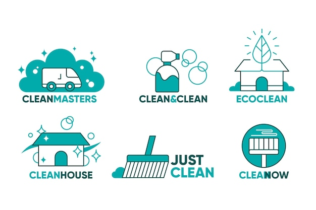 Collection of cleaning company logos Free Vector
