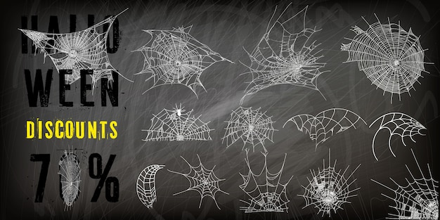 Collection of cobweb Premium Vector