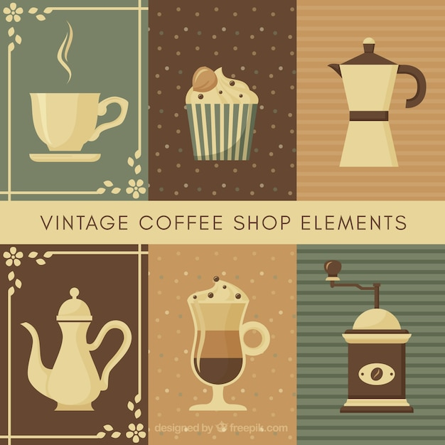 Collection of coffee pot and other elements in vintage style Free Vector