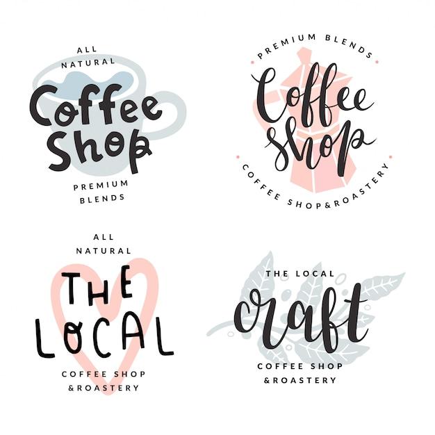 Collection of coffee shop logotypes Premium Vector