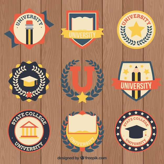 Collection of college logos in vintage style Free Vector