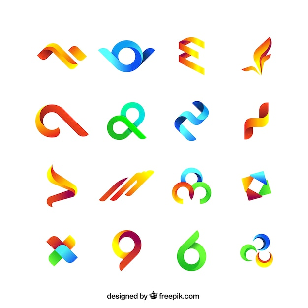 Collection of colored abstract symbols Premium Vector