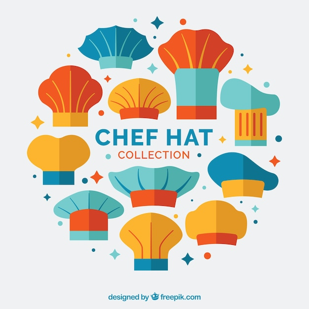 Collection of colored chef hats in flat design Vector  085d387134d