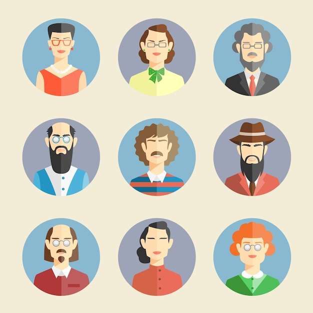 Collection of colored faces in flat style depicting the heads and shoulders of diverse men and women facing the viewer in round blue frames  vector illustration Premium Vector