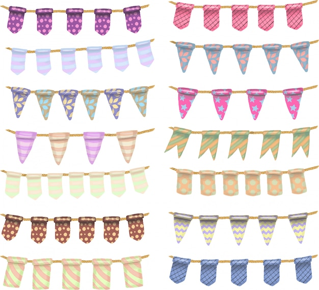Collection of colored hand drawn hanging flags Premium Vector