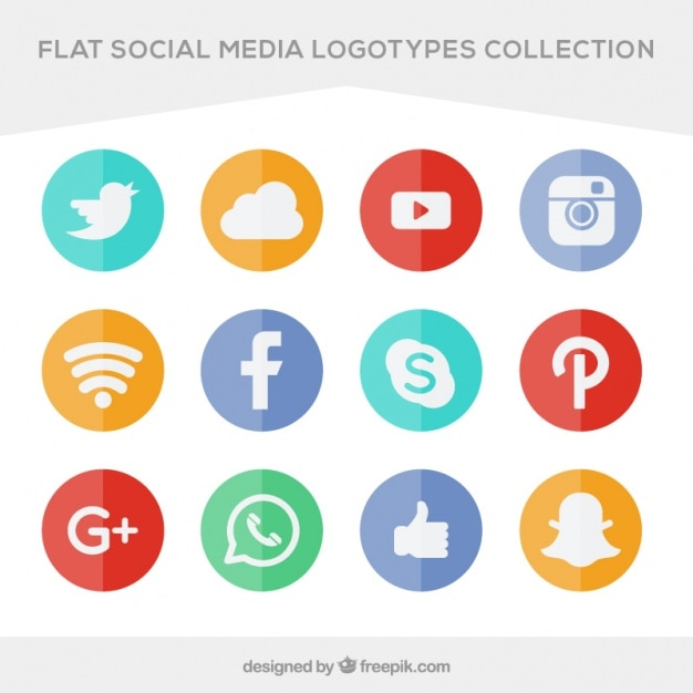 Collection of colored icons social networking Free Vector