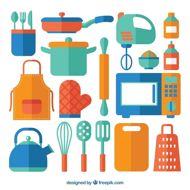 Collection of colored kitchen elements in flat design Free Vector