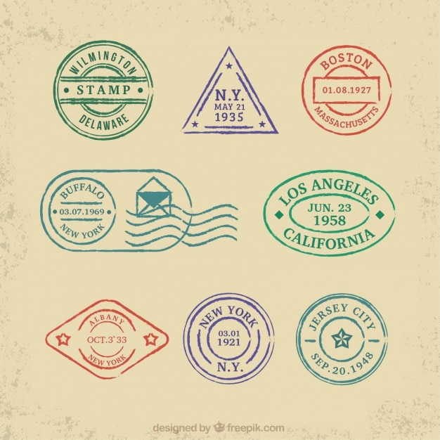Collection Of Colored Travel Stamps Vector