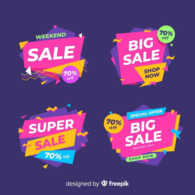 Collection of colorful abstract sale banners Free Vector