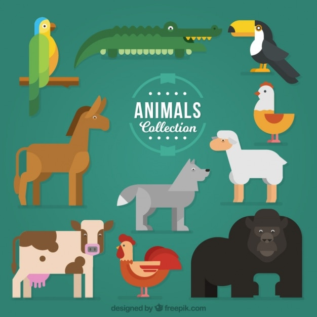 Collection of colorful animals in geometric style Free Vector