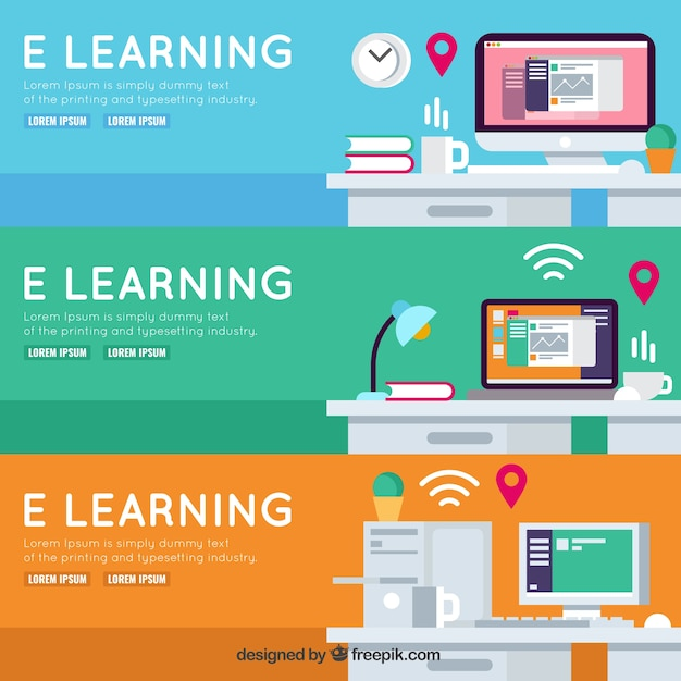 Freepik Collection Of Colorful Banners For Online Learning Vector For Free