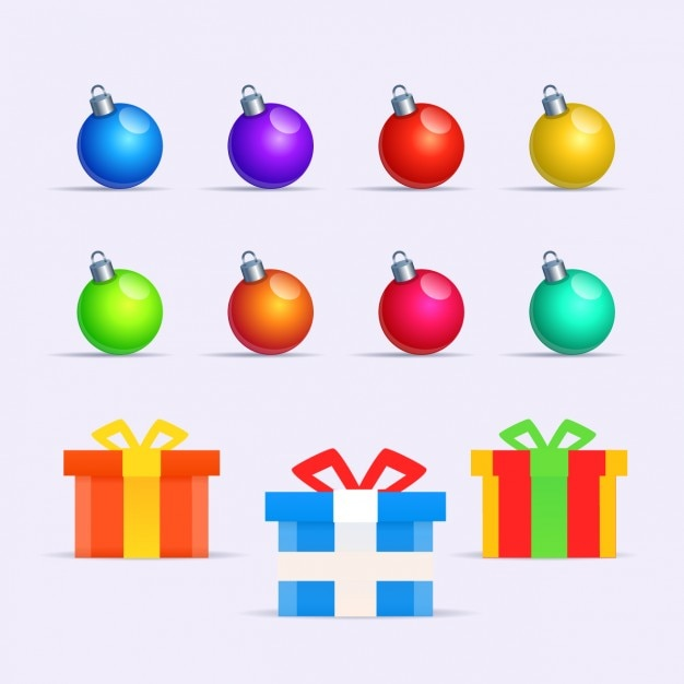 Collection of colorful baubles and gifts Free Vector