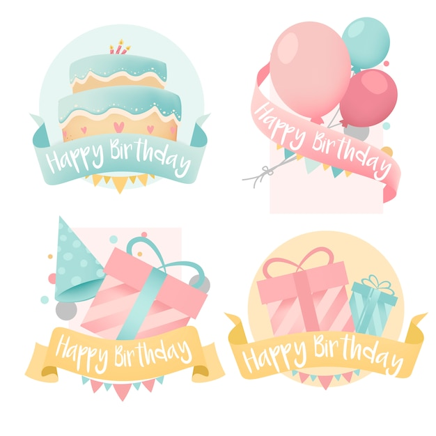 Collection of colorful birthday badge vectors Free Vector