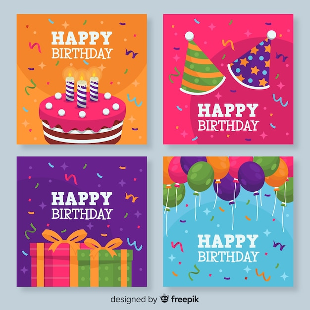 Collection of colorful birthday cards Free Vector