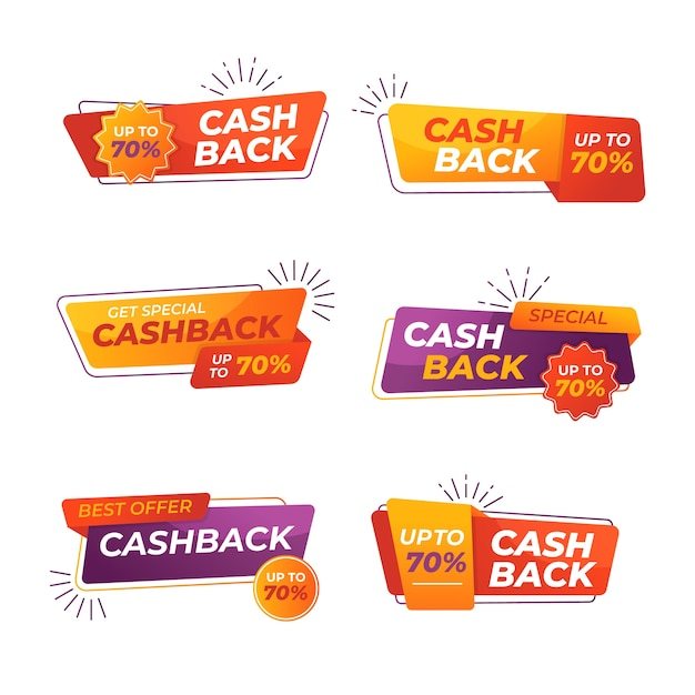 Collection of colorful cashback labels Free Vector