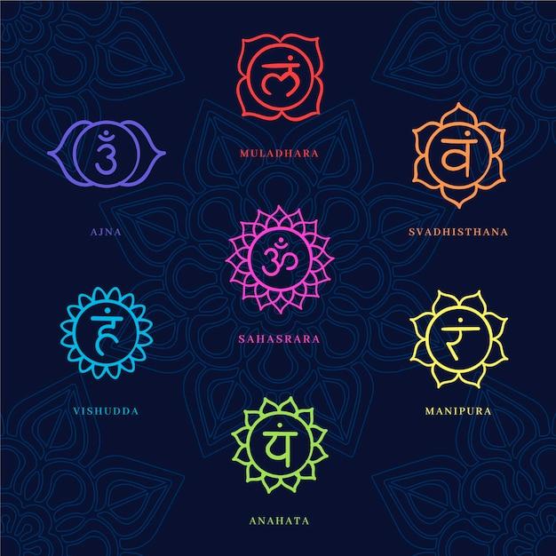 Collezione di chakra colorati Vettore gratuito