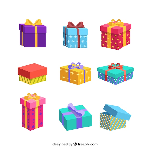 Collection of colorful christmas gifts Premium Vector
