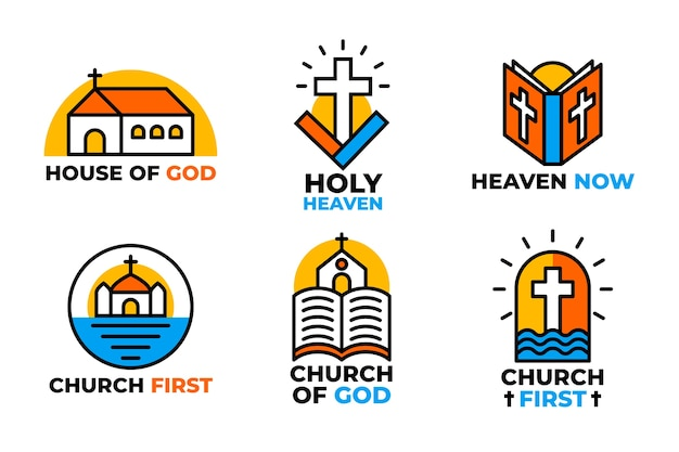 Collection of colorful church logos Free Vector