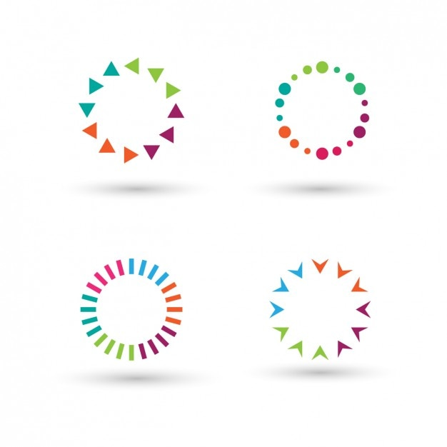 Collection of colorful circles made with polygons Free Vector