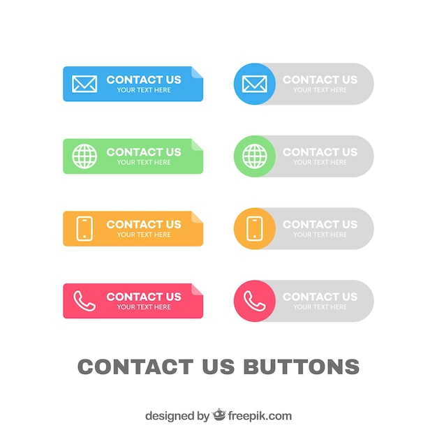 Collection of colorful contact buttons Free Vector