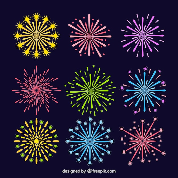 Collection of colorful firework Free Vector