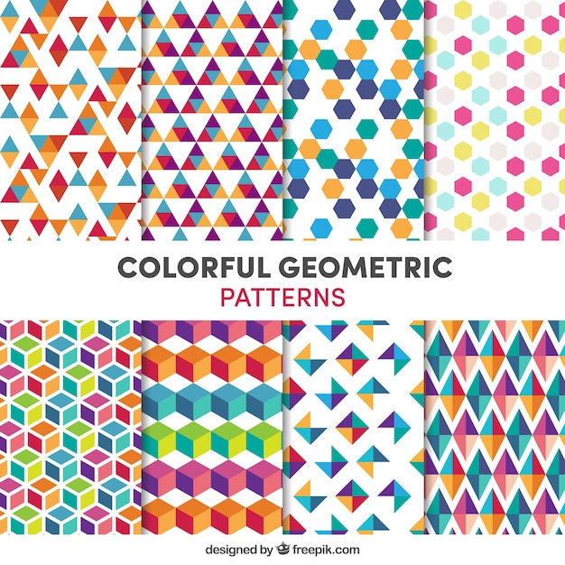 Collection of colorful geometric patterns Free Vector