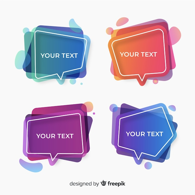 Collection of colorful gradient speech bubbles Free Vector