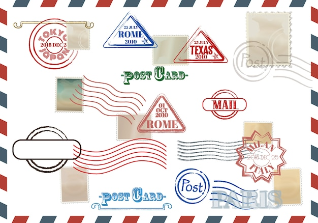 Collection of colorful grungy stamps with text Premium Vector