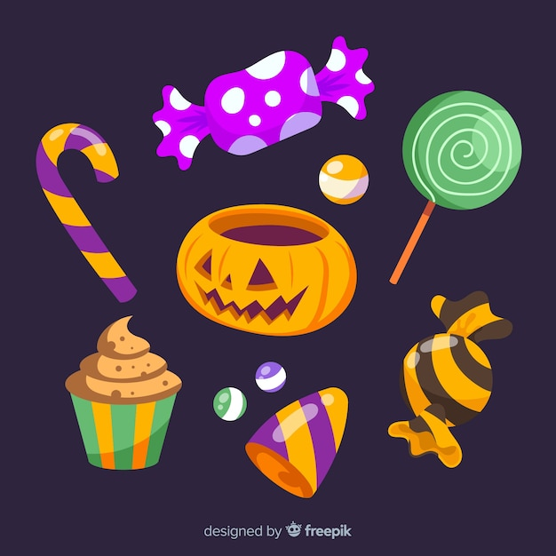 Collection of colorful halloween candies Free Vector
