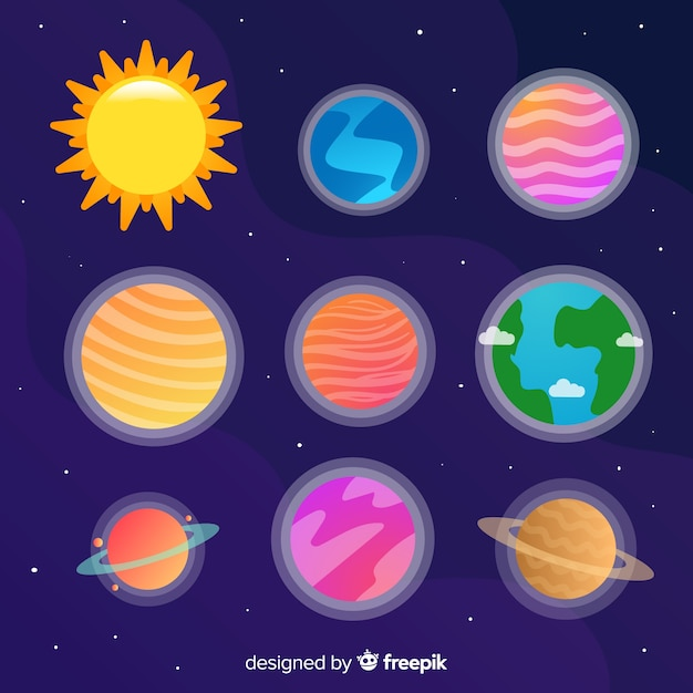 Collection of colorful hand drawn planets stickers Free Vector