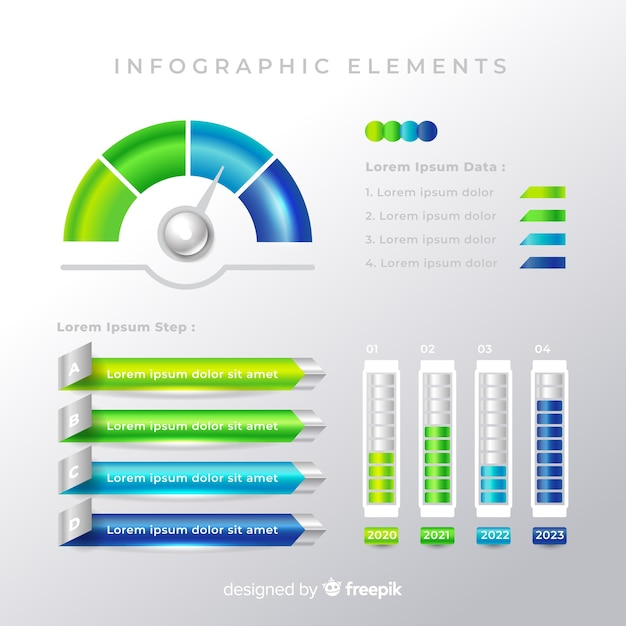 Collection of colorful infographic elements Free Vector