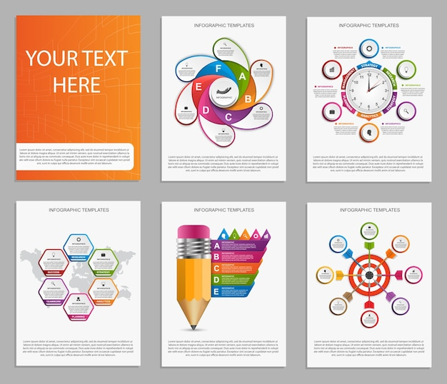 Collection of colorful infographics. Premium Vector