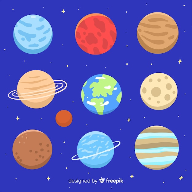 Collection of colorful milky way planets Free Vector