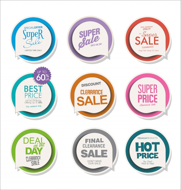 Collection of colorful modern badges and labels Premium Vector