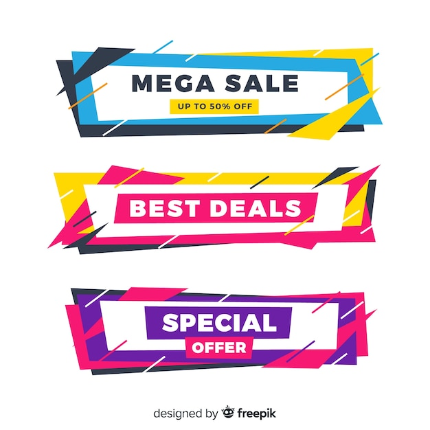 Collection of colorful origami sale banner Free Vector