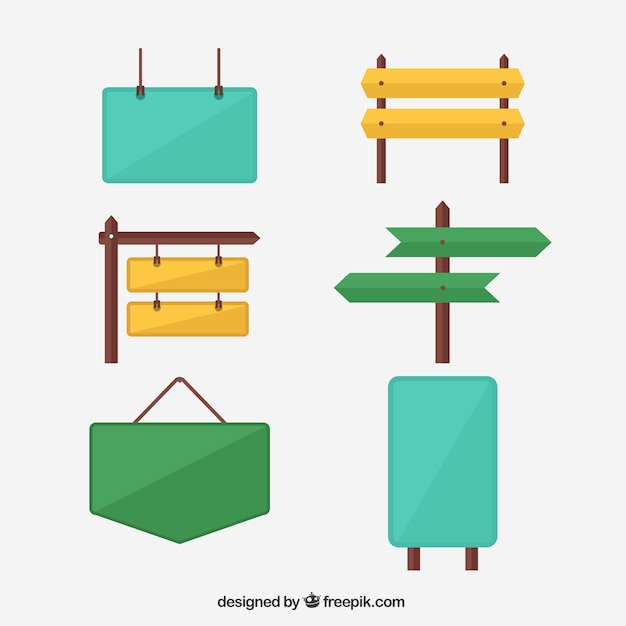 Collection of colorful poster in flat design Free Vector