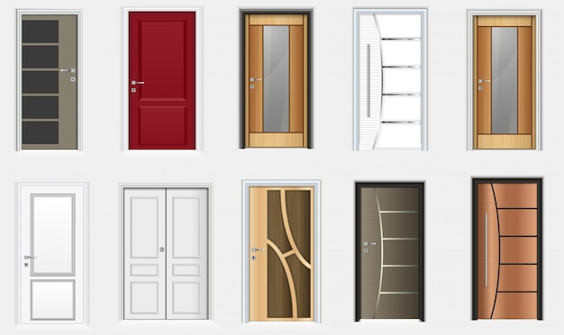 Collection of colorful room doors icons Premium Vector