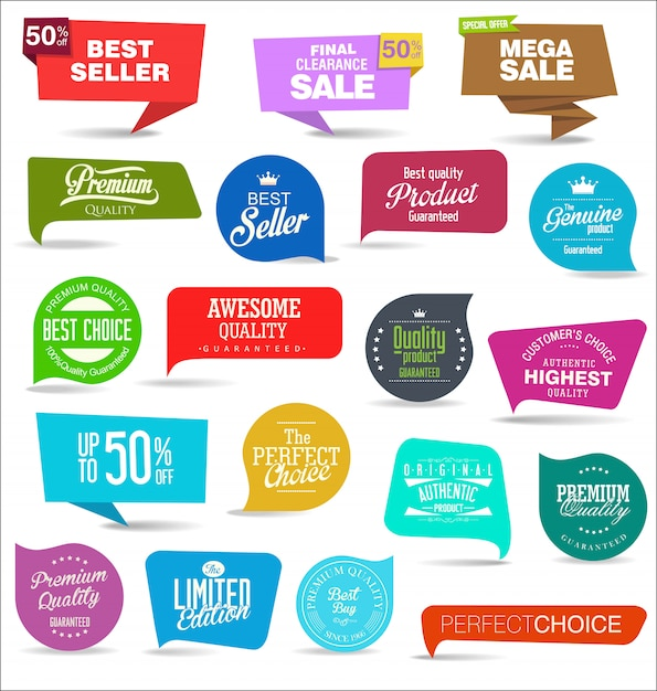 Collection of colorful sale stickers and tags Premium Vector