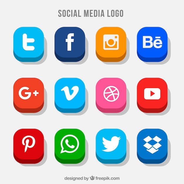 Collection of colorful social media buttons Free Vector